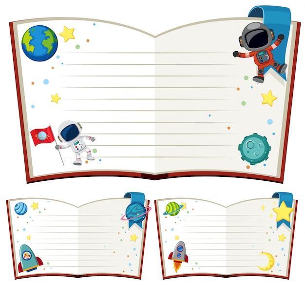 Lege boeken met astronaut en raketten