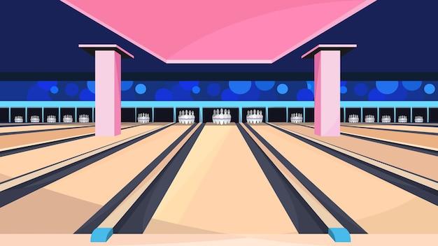 Lege bowlingbaan. sport club interieur.