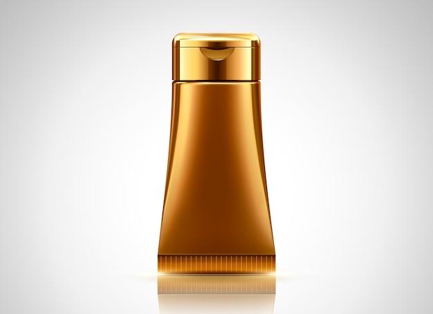 Lege bronzen buis, cosmetische container op lichtgrijze achtergrond in afbeelding