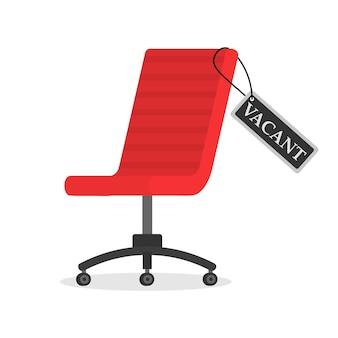 Lege bureaustoel met leeg teken. werkgelegenheid, vacature en inhuur baanconcept. vrijstaande werkplek voor werknemer. het concept van het aannemen en rekruteren van een bedrijf, zoekmedewerker.