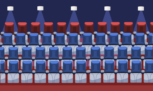 Lege comfortabele bioscoopstoelen moderne bioscoop interieur podium stoelen in rij plat