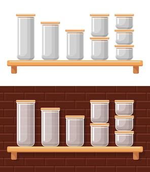 Lege containers voor voedselopslag. verzegelde plastic transparante dozen voor droge bulkproducten.
