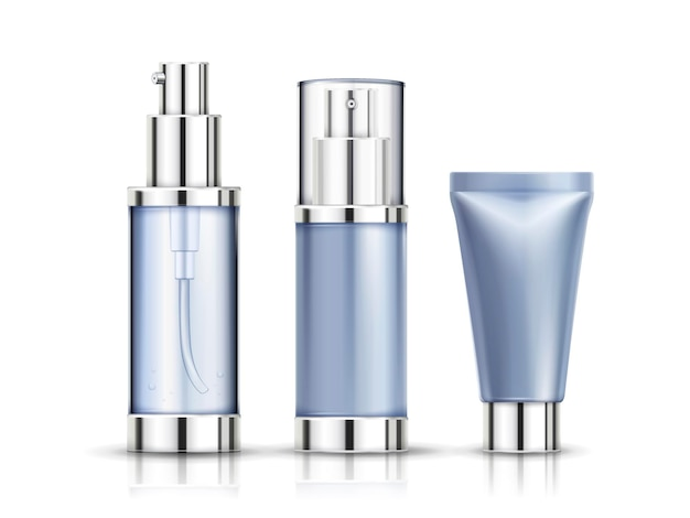 Lege cosmetische container set, buis en spuitfles mockup geïsoleerd