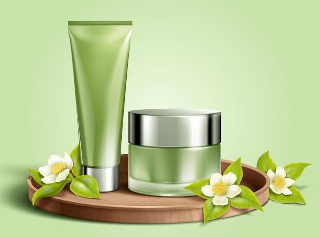 Lege cosmetische container set met groene theeblaadjes in 3d illustratie