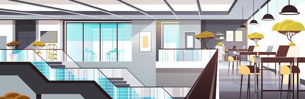 Lege coworking space interieur modern slim werkend kantoor creatieve open ruimte horizontale vector illustratie