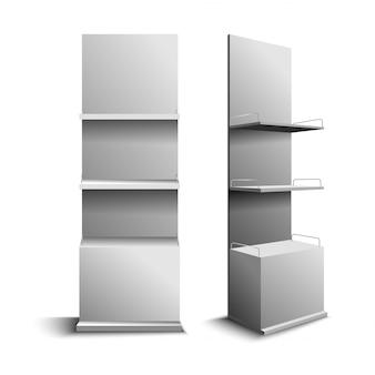 Lege de kleurenillustratie van winkel witte planken. plank voor wikkelreclame op een witte achtergrond, accessoire displaystandaard, retail displaystandaard met haak voor product