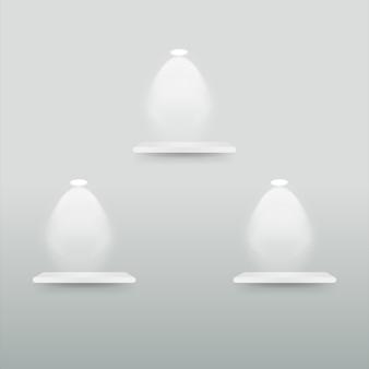 Lege displayplank met schijnwerpers