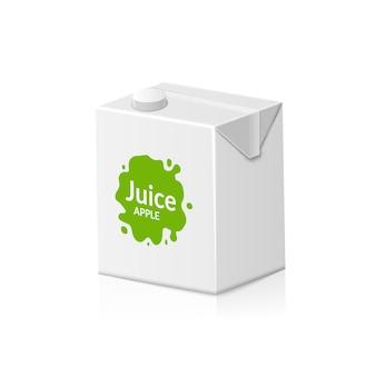Lege doos met appelsap in doos. kartonnen verpakking met sap of melk. drink kleine doos illustratie.