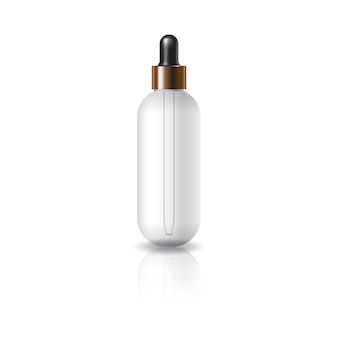 Lege duidelijke ovale ronde kosmetische fles met druppelaardeksel.