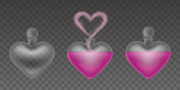 Lege en volle flessen van liefdesdrankjes