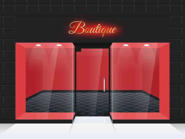 Lege etalage of boetiekramen en deurillustratie. modeboetiek met glazen gevel, boetiek aan de voorkant