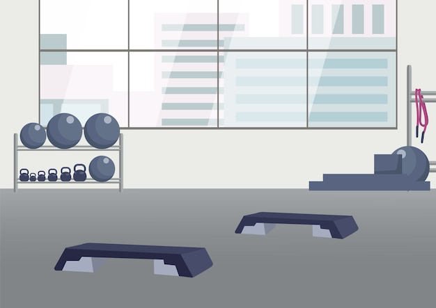 Lege fitness club egale kleur illustratie