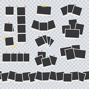 Lege fotolijsten bevestigd met plakband en pinnen