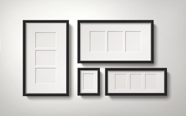 Lege fotolijsten met verschillende ruimtes voor het plaatsen van foto's, realistische stijl van 3d-afbeelding