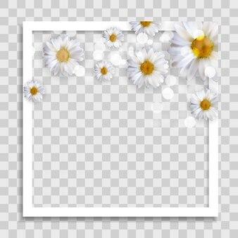 Lege fotolijstsjabloon met lentebloemen voor mediapost in sociaal netwerk