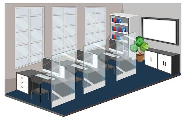 Lege geïsoleerde werkplek of kantoorruimte