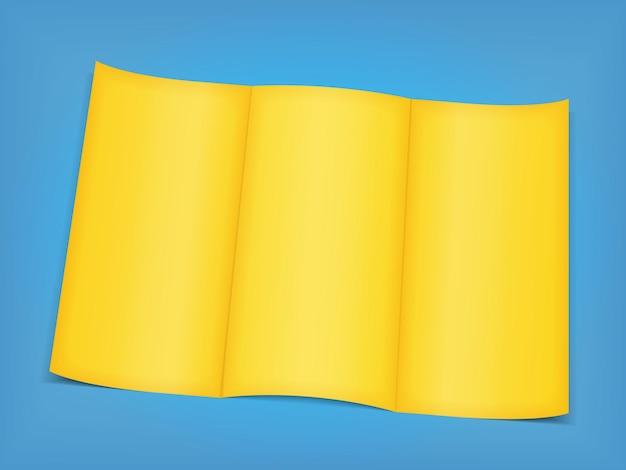 Lege gele brochure op blauwe achtergrond,