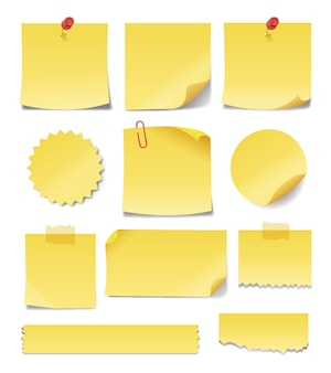 Lege gele kleverige nota's in verschillende vormen en maten