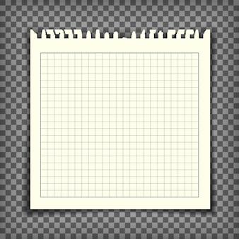 Lege geruite notitieboekpagina met gescheurde rand