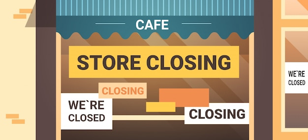 Lege gesloten café met gele faillissement sluiten teken coronavirus pandemische quarantaine