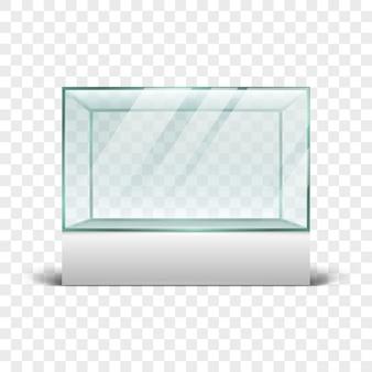 Lege glasconstructie voor exposities