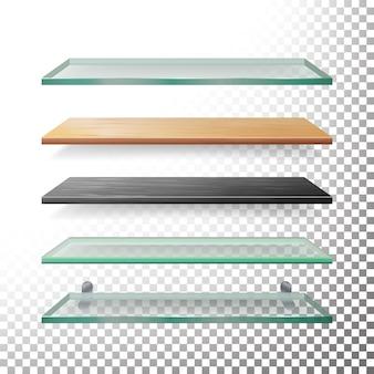 Lege glazen en houten planken