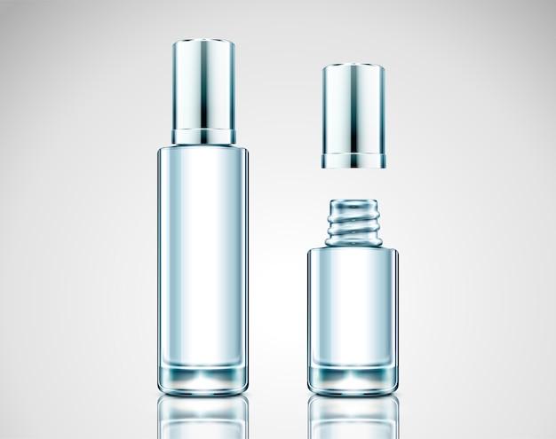 Lege glazen fles, cosmetische container op lichtgrijze achtergrond in afbeelding