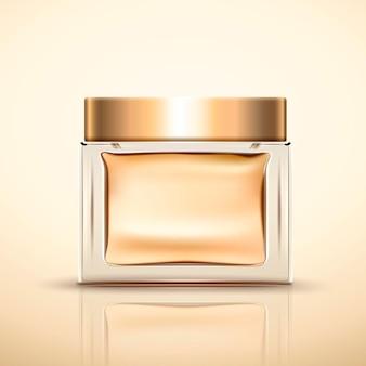 Lege glazen pot in gouden kleur geïsoleerd op de achtergrond in 3d illustratie