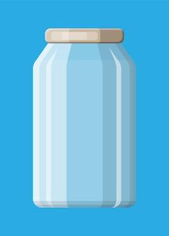 Lege glazen pot voor inblikken en conserveren. glazen fles met deksel geïsoleerd op blauwe achtergrond. kunststof container voor vloeistoffen. vectorillustratie in vlakke stijl