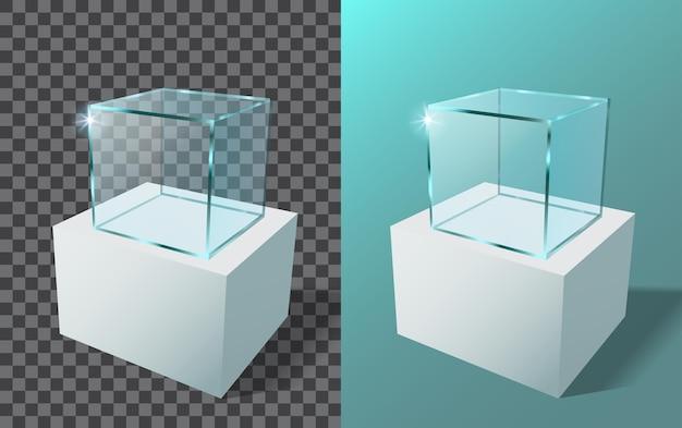Lege glazen vitrine in kubusvorm. 3d-realistische glazen vierkante showcase.