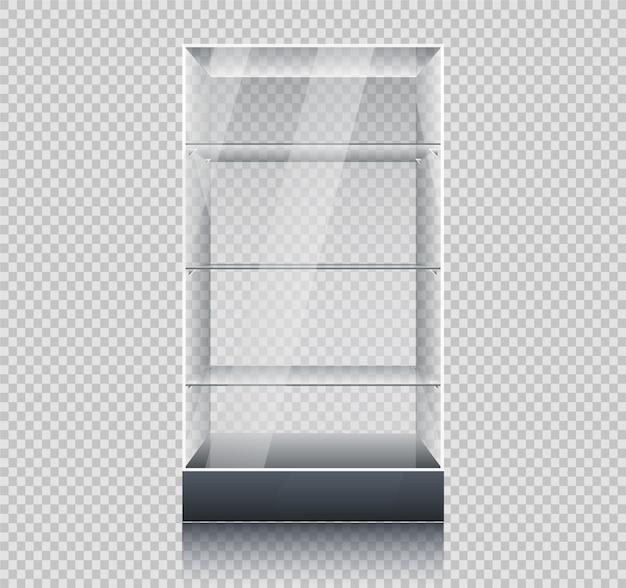 Lege glazen vitrine in kubusvorm. glazen kubus