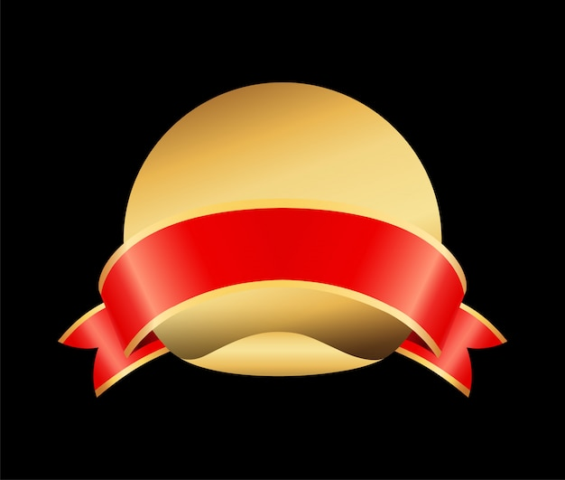 Lege gouden badge met lint