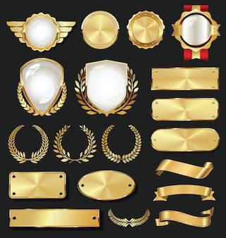 Lege gouden etiketten retro vintage design