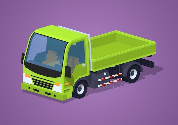 Lege groene 3d lowpoly isometrische vrachtwagen
