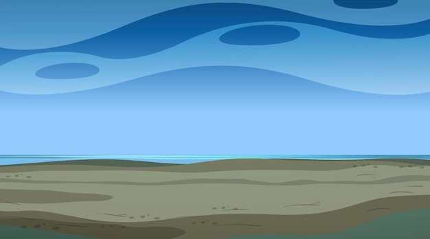Lege hemel bij nachtscène met leeg overstromingslandschap