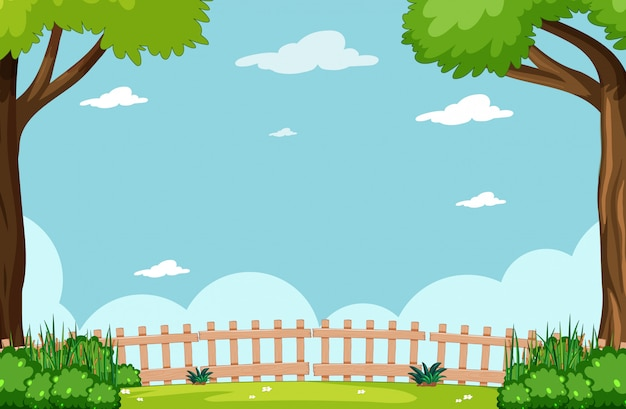 Lege hemel in de scène van het aardpark met boom