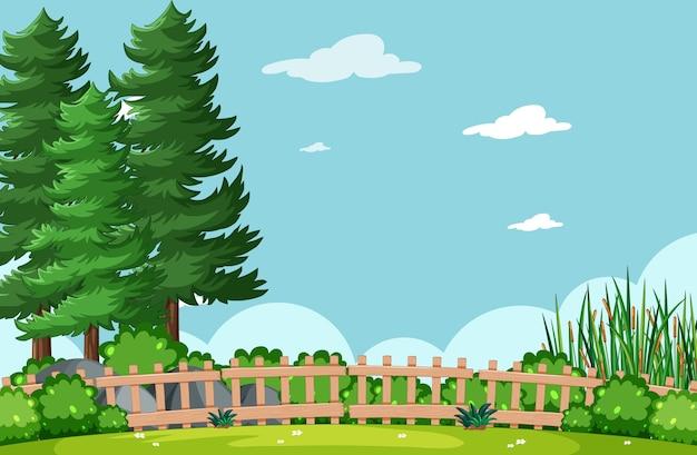 Lege hemel in de scène van het natuurpark met boom