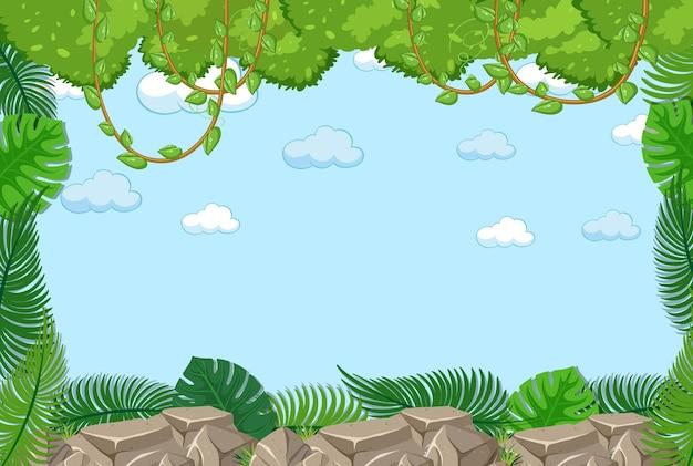 Lege hemel met bladerenelement