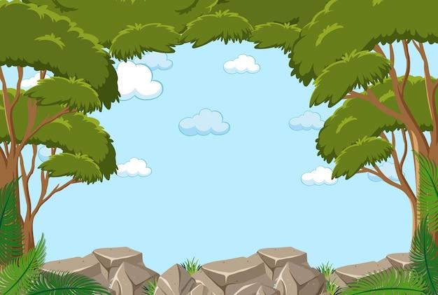 Lege hemelachtergrond met veel bomen Premium Vector