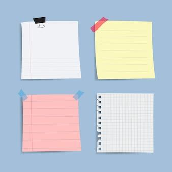 Lege herinnering papier notities vector set