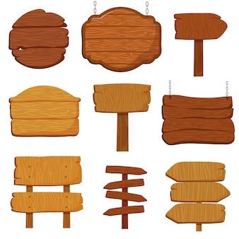 Lege houten banners en verkeerstekens. houten uithangborden geïsoleerde vectorinzameling