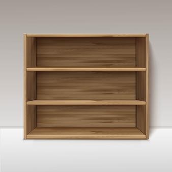 Lege houten houten plank planken geïsoleerd op de muur