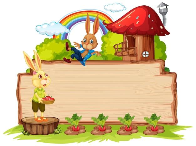 Lege houten plank met twee konijnen in de tuin geïsoleerd