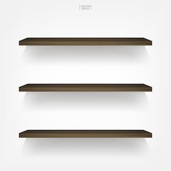 Lege houten plank op witte achtergrond met zachte schaduw. vector illustratie.