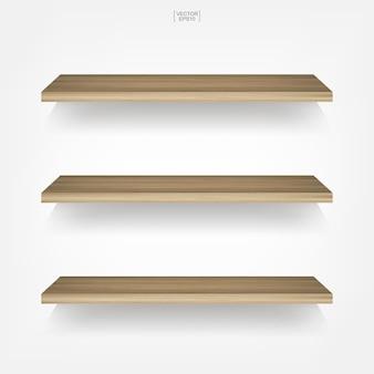 Lege houten plank op witte achtergrond met zachte schaduw