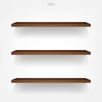 Lege houten plank op witte achtergrond.