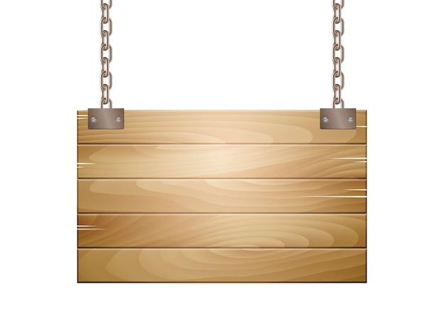 Lege houten plank teken opknoping op een ketting geïsoleerd op wit. vector illustratie