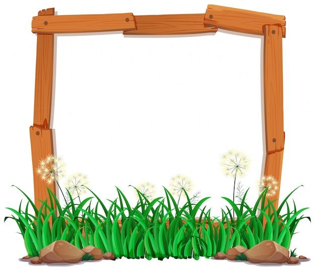 Lege houten scènes met planten