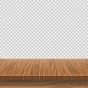 Lege houten tafel voor productplaatsing op transparante achtergrond