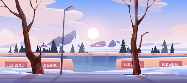 Lege ijsbaan in het landschap van de de winterberg